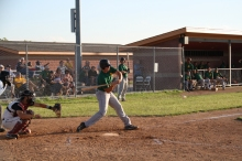 Swinging and missing at a pitch, A's first basemen Garrett McKinzie struggles at the plate against the Topeka Golden Giants Tuesday night.