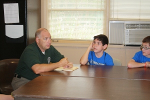Officer Bergman taught the campers about stranger awareness