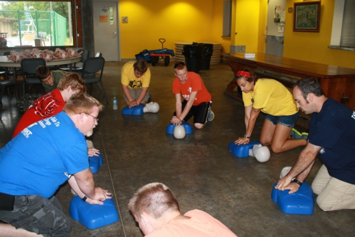 Campers learned adult, child, and infant CPR