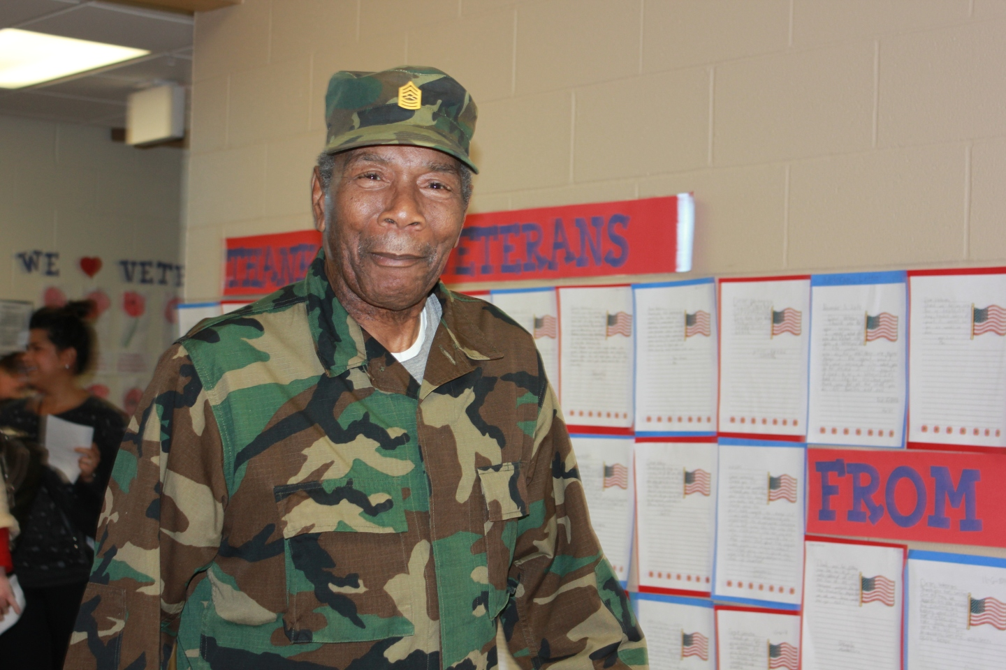 Retired Master Sgt. Lee Shepherd, a Vietnam veteran who served in the Marine Corp for 20 years celebrated Veterans Day with Creekmoor students.