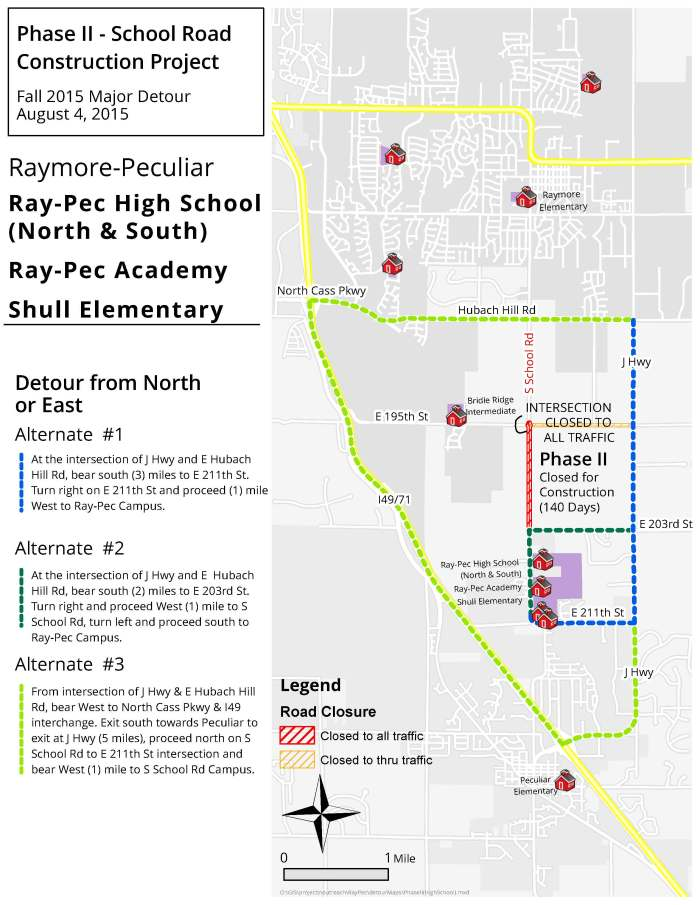 Possible alternative detour routes outlined by the Raymore-Peculiar School District.